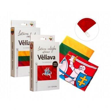 Aliuminis juodas stiebas 6m su Lietuvos istorine vėliava ir Lietuvos valstybine vėliava 3