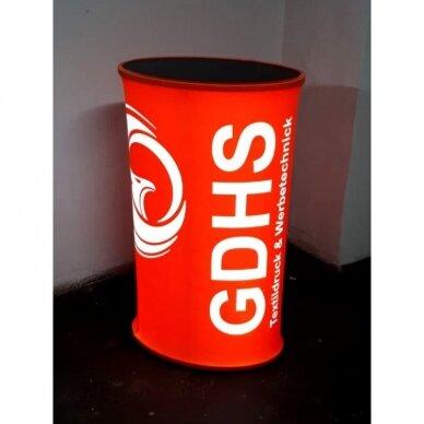 Degustacinis LED reklaminis staliukas ovalus