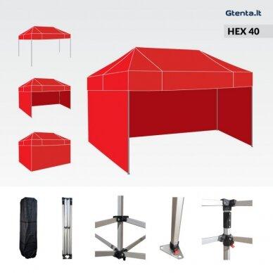 Greito surinkimo palapinė 3x4,5 HEX 40 Raudona