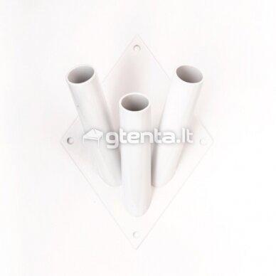 Metalinis trivietis laikiklis D22mm BALTAS