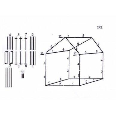 Prekybinė palapinė 2×2 Balta - Žalia 4