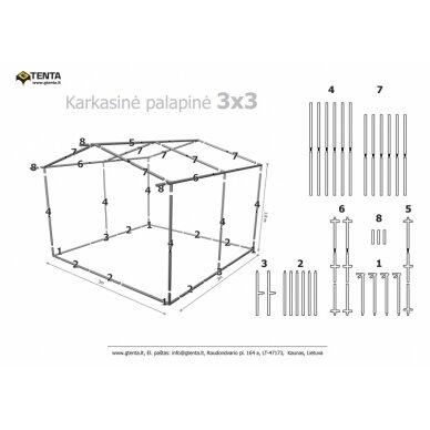 Prekybinė palapinė 3×3 Balta - Mėlyna 2