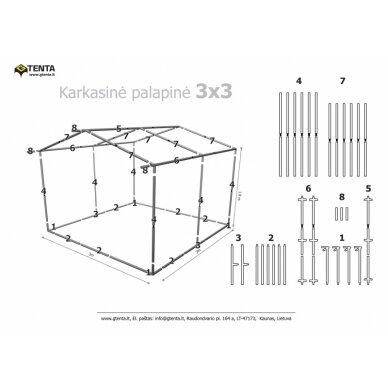 Prekybinė palapinė 3×3 Pilka 2