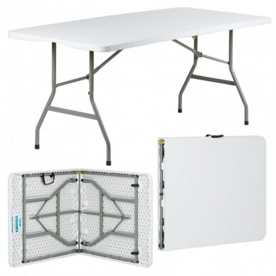 Sulankstomas stalas 180 cm Baltas 10